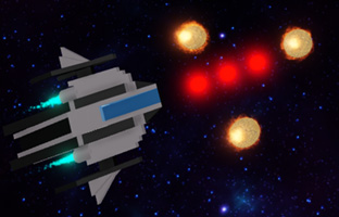 Spaceship shooting asteroids