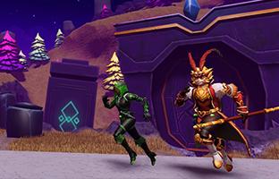 Players running behind ancient ruins