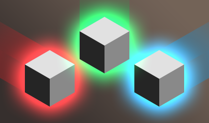 Cubes of different colors coming together