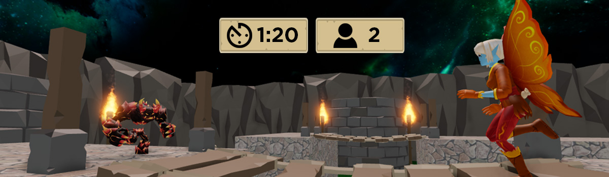 Players in roblox battle royale with on screen display showing time and player count